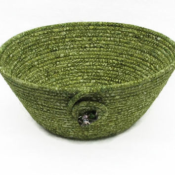 Green Coiled Fabric Bowl, Basket