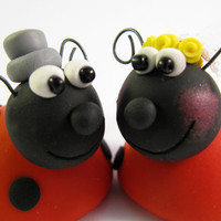 custom wedding cake topper, ladybug, bride and groom, polymer clay