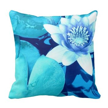 Aqua Blue Waterlily Throw Pillow-Style 4