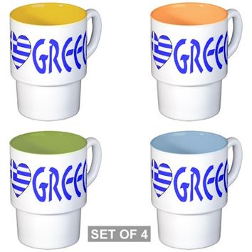 Greek Flag Heart & Greece Coffee Cups
