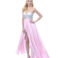 Baby Pink Sequined Strapless Long Dress
