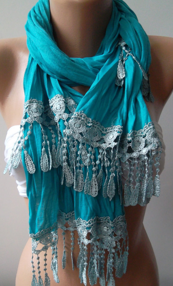 Turquoise  Blue --- and Elegance Shawl / Scarf-