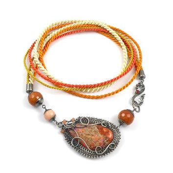 Wire wrap necklace, sterling silver orange necklace, gemstone wire wrapped jewelry, fine jewelry, autumn jewelry