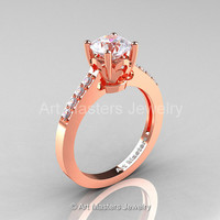 Classic 14K Rose Gold 1.0 Carat White Sapphire Diamond Solitaire Wedding Ring R101-14RGDWS