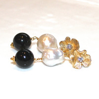 Large Baroque Pearl Earrings Large Onyx Earrings Huge Pearl Earrings Black and White Earrings Big Pearl Jewelry Fall Style Statement Earring