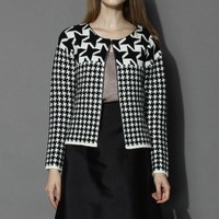 Petite Houndstooth Knitted Coat Black S/M