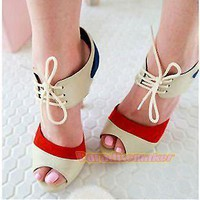 Lace up Open toe heels Red, Off-white, Blue by dithzzappear on Sense of Fashion