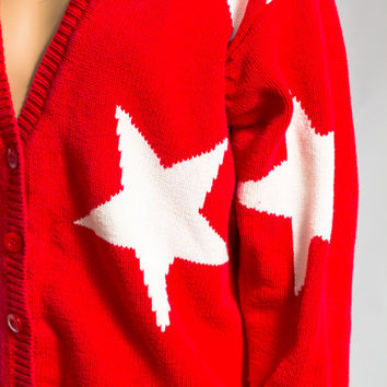 Red white star slouchy cardigan sweater
