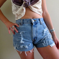 Shredded Shorts Levis Light High Waisted Waist Denim Blue Jean Ripped