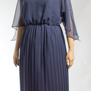 Navy blue sheer top pleated skirt mad men dress 60s size large