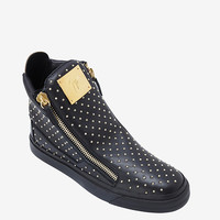 GIUSEPPE ZANOTTI STUDDED LEATHER ZIPPER SNEAKER: BLACK