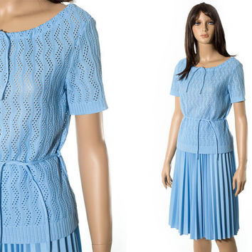 Midcentury style pleated accordion skirt and top set blue 1950s style