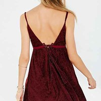 COPE Printed Velvet Lace-Up Back Dress-