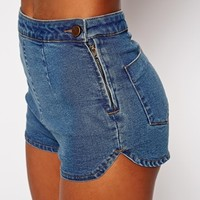 ASOS Denim Dolphin Hem Short in Mid Wash