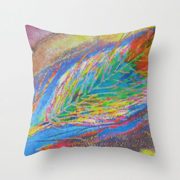 Dark Feather Rainbow Abstract Pillow Choose Size