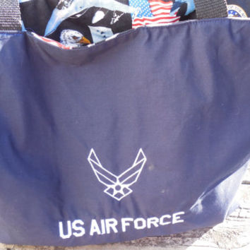 Handmade US Air Force Embroidered  Handbag, Tote Bag, Grocery, Market Tote, Eco Friendly Tote
