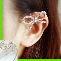 Bow Up Rhinestone Ear Cuff (Single, No Piercing)
