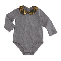 Dolce & Gabbana Brocade-Collar Long-Sleeve Playsuit, Gray, 3-24 Months