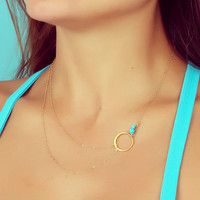 Layering necklace, turquoise necklace, assymetrical necklace, simple gold necklace, bridesmaid necklace,  circle necklace, &quot;Sinope&quot;