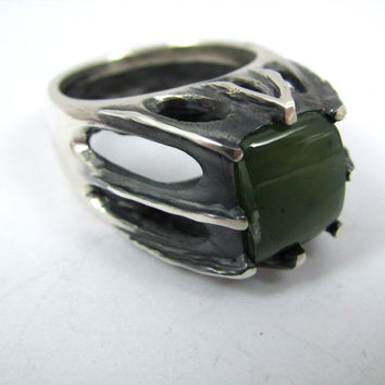 Men's Green Jade Silver Ring / Fantasy or Gothic Jewelry