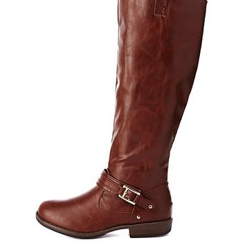 Bamboo Buckled Riding Boots by Charlotte Russe - Brown