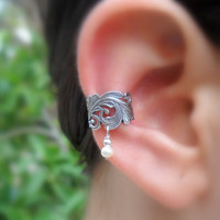 Ear Cuff Sterling Silver Handcrafted  Textured Genuine Pearl Cartilage/catchless
