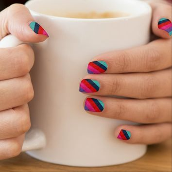Colorful stripes textured Nail art
