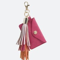 ASOS Leather Keychain With Tri-coloured Tassel & Card Holder