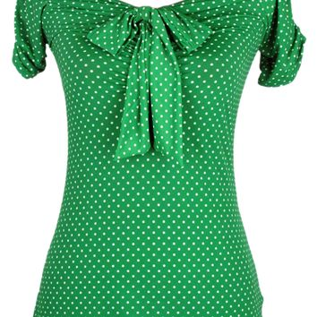 "Women's ""Off the Shoulder"" Top by Pinky Pinups (Green/White)"