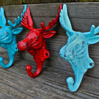 Set of 3 Bright &quot;Moose Head&quot; cast iron Wall Hook:Red, Aqua, Turquoise / Shabby Chic/ Lodge, Cabin Decor/ Key Hanger, Coat Rack, Tow