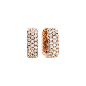 Mercer Three Row 18k Rose Gold and Diamond Hoop Earrings