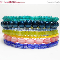 ON SALE Stacked Bracelet Tapestry Blue Pink Teal Memory Wire Beaded Wrap