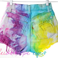 Vintage LEVIS 501 Colorful Marbled Dyed Denim Destroyed High Waist Cut Off Shorts XXS