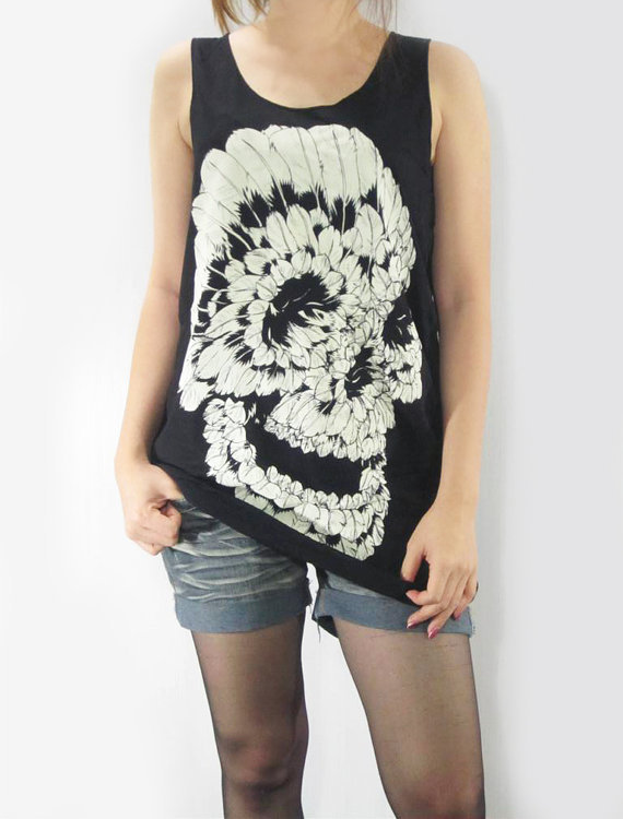 SKULL Feather Death Goth Gothic Skull Design Art Shirt Skull Shirt Women Long Tank Top Black Tunic Top Singlet Vest Women Shirt Size S M