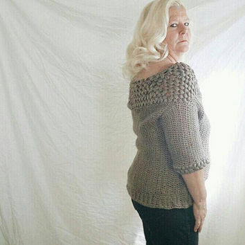 Womens crochet sweater in beige, Handmade cardigan sweater - Made to order ballet neckline cardigan
