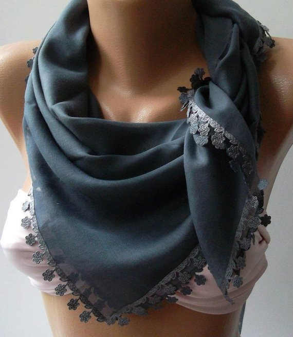 Grey - Shawl with Lace - Turkish Shawl - Anatolians Scarf - Yemeni