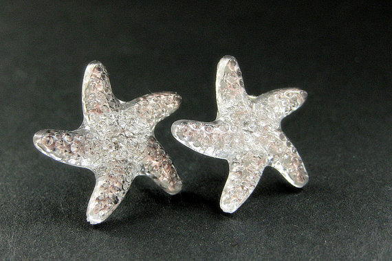 Starfish Earrings. Star Earrings with Silver Stud Earring Backs. Handmade Jewelry.