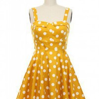 Pin-Up Polka Dots Dress in Yellow