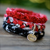 LOVE Red Black Braided Fabric Bracelet with Hand-Stamped Tag