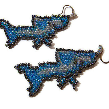 Shark Earrings Bead Work Handmade Seed Bead Beaded Blue Fish Fun Fashion Jewelry