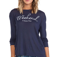 Wildfox Couture Weekend Long Sleeve in Navy