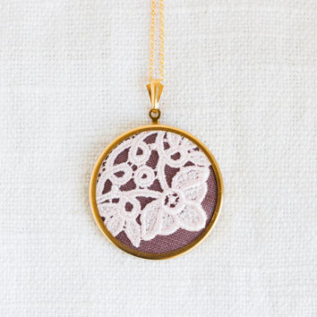 Textile necklace with pink lace and brown fabric - bridesmaid jewelry, gift for her - l027