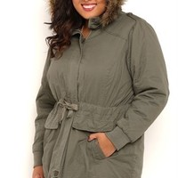 Plus Size Anorak Jacket with Drawstring Waist and Fur Trim Hood