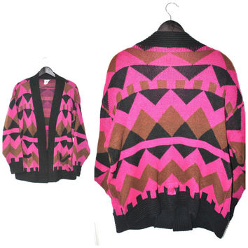 1980s GEOMETRIC slouchy CARDIGAN / vibrant colourful OOAK long relaxed fit sweater