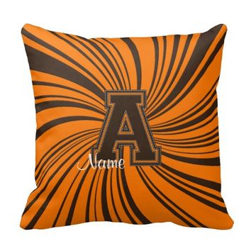 School Colors Monogram Pillow Orange-Brown A
