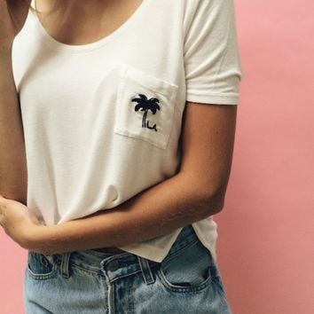 JENNAH PALM TREE EMBROIDERY TOP