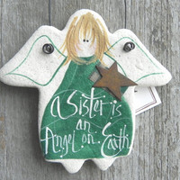 Sister Gift Angel Handpainted Salt Dough Ornament