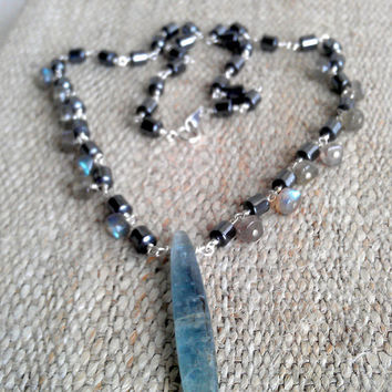 Labradorite, Kyanite, Hematite, Sterling Silver, Crystal Shard Pendant Necklace Elegant Tribal Raw Organic Aqua Blue Gemstone Unique Jewelry