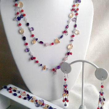 3 Piece Set, Save on the 43 inch Necklace, 3 Strand Bracelet, Long Earrings Elegant Fine Jewelry. Voyage to India Purple Red Orange Yellow