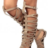Natural Faux Leather Thigh High Gladiator Sandals @ Cicihot Sandals Shoes online store sale:Sandals,Thong Sandals,Women's Sandals,Dress Sandals,Summer Shoes,Spring Shoes,Wooden Sandal,Ladies Sandals,Girls Sandals,Evening Dress Shoes